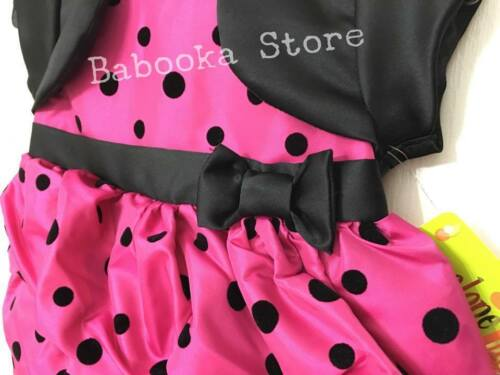 Penelope Mack Girls Holiday Pink Dress Black Polka Dot Dress Bolero Bow Dress