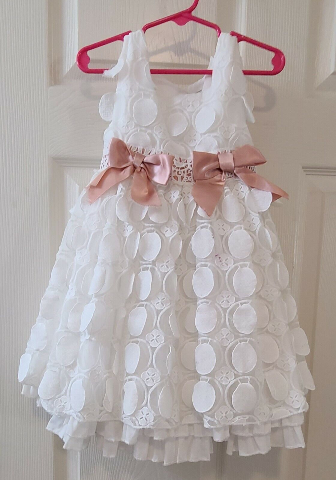 Senskids Size 2 White Dress Formal Flower Girl Wedding Formal Adorable See Pics