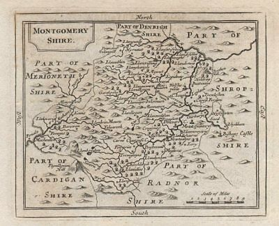 Antique County Map Of Montgomeryshire By John Seller / Francis Grose C1780 Street Price