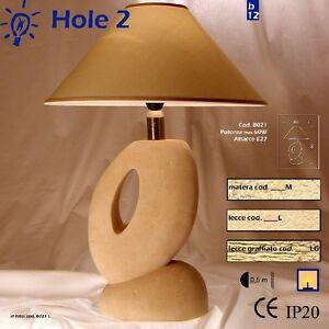 Lampada Da Tavolo Artigianale In Pietra Di Matera Modello Hole 2 Ebay