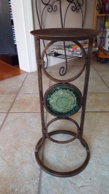 Partylite Bronze Iron Pillar Candle Holder w/ Green Glass ...