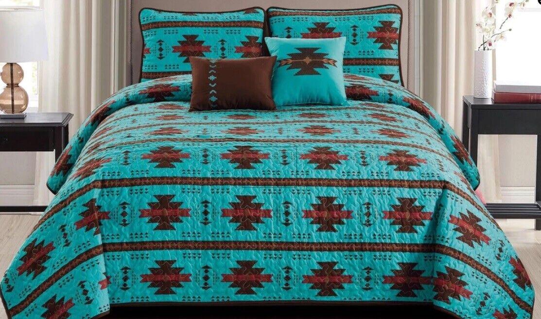 5 Piece Quilt Southwestern Texas Reversible Turquoise Aztec Bettspread Königin König