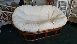 imports taupe double chair pier loveseat papasan frame
