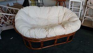 Papasan Loveseat Living Room Wicker Indoor Rattan Furniture