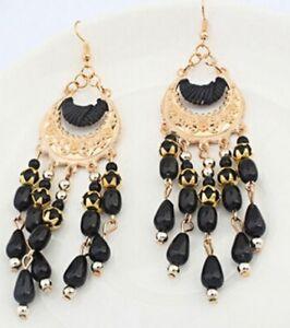 Big Long Black Silver Tassel Chandelier Earrings Stud Pierced Ears Bohemian E119