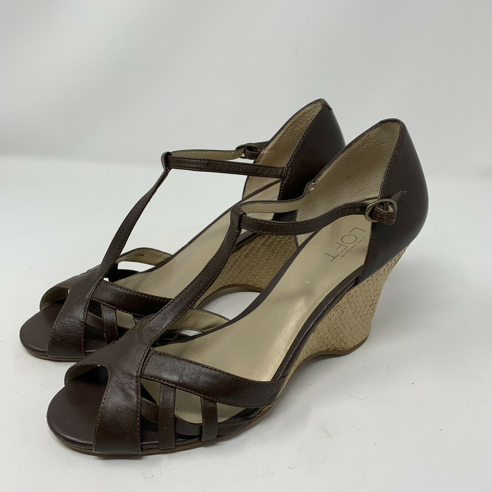 Ann Taylor Loft Leather Wedge Strappy Heel Brown Size 8M