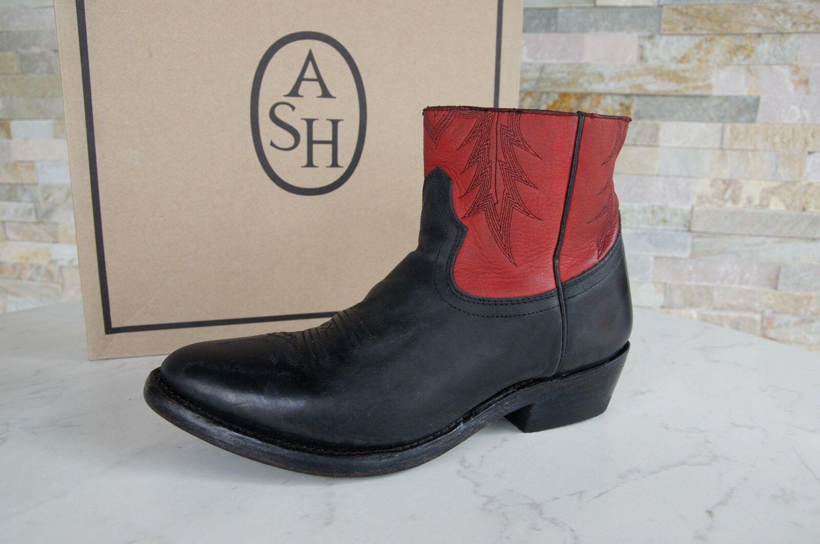 ASH Gr 37,5 Schuhe Stiefeletten Country Vintage Kut schwarz rot neu ehem