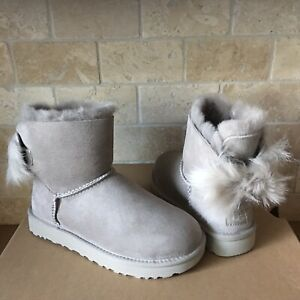 Details about UGG MINI FLUFF BOW WILLOW GREY SUEDE SHEEPSKIN BOOTS BOOTIES SIZE US 5 WOMENS