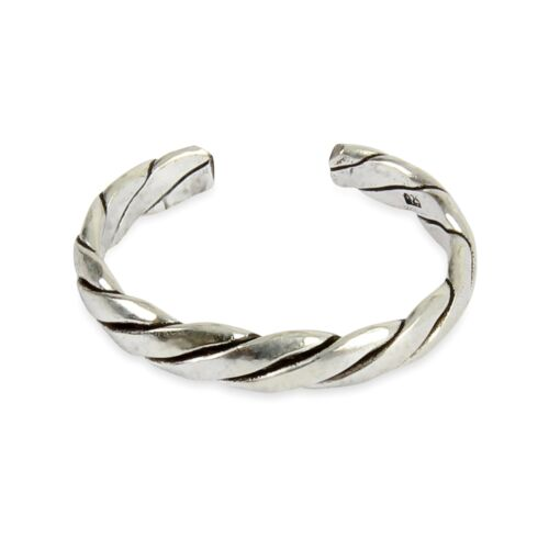 925 Solid Sterling Silver Twist Pattern Adjustable  Toe ring