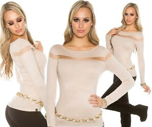 PULL-FEMME-COL-ROND-BEIGE-AVEC-BANDE-RESILLE-DOREE-TOP-SEXY-KOUCLA-T-34-36-38