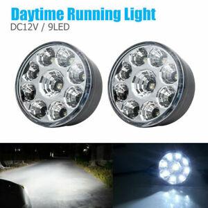 Luz-9-LED-Lampara-Luces-5050-Coche-DRL-Diurna-Blanco-brillante-que-ejecutan-Niebla-2x-Redondo