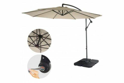 Sonnenschirm 3m Durchmesser Marktschirm Luxus Ampelschirm mit Ständer creme