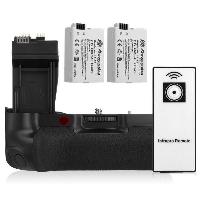 2x 1800mAh LP-E8 Battery +BG-E8 Battery Grip for Canon 550D 700D T2i T3i T4i T5i