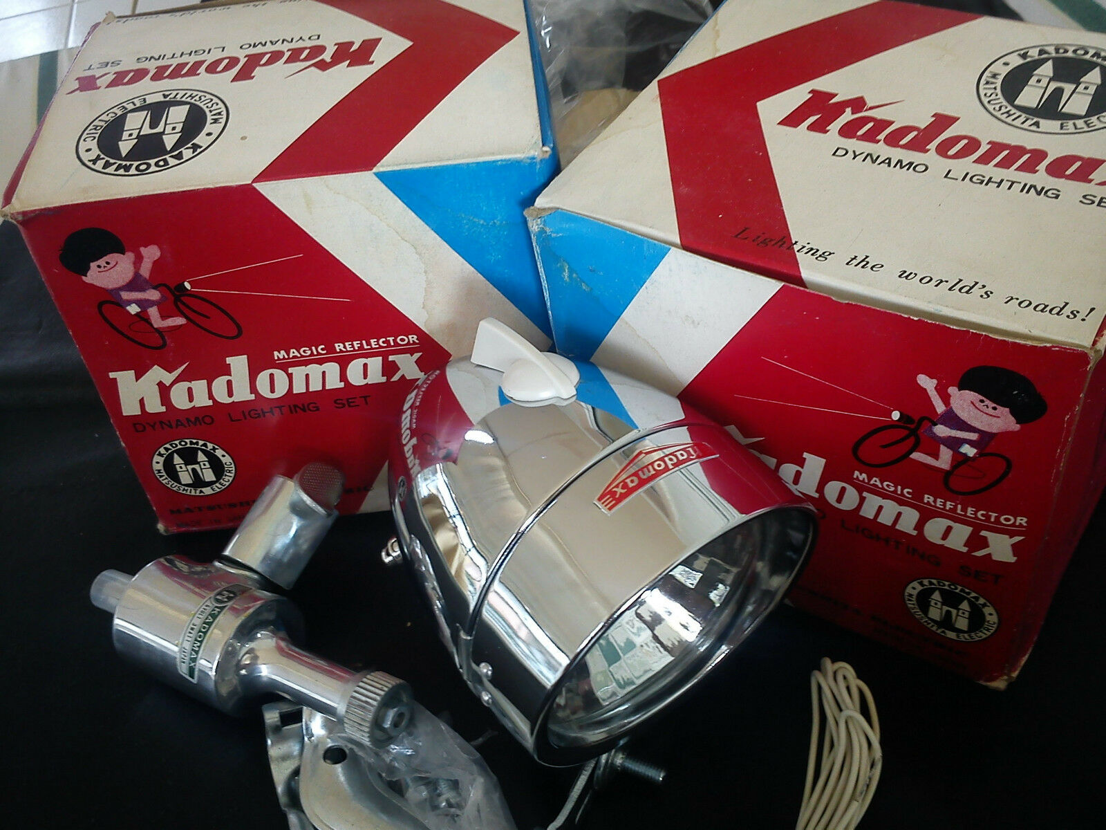 Vintage Bicycle  Light Dynamo Lighting Set -KADOMAX 6V-  Made in Japan 1960 NOS  save on clearance