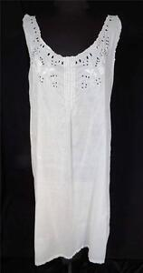 Image is loading PLUS-SIZE-ANTIQUE-EDWARDIAN-HAND-EMBROIDERED-WHITE-COTTON- 806849128