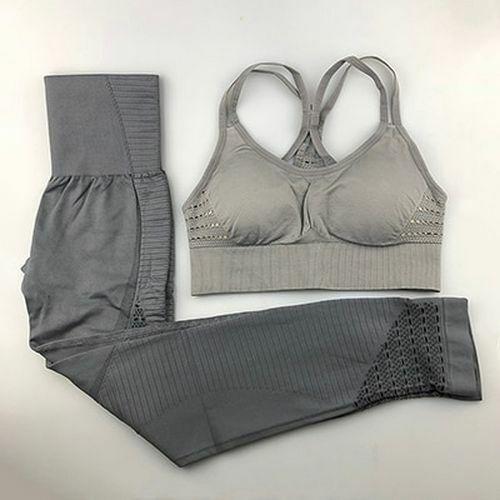 2 Stk Nahtlos Yoga Set Fitness Leggings Gepolstert Push-Up Bh Damen Bekleidung