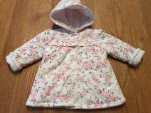 4d1989e38 Baby Girls Cream   Pink Floral Hooded Jacket Reversible George 3-6 ...