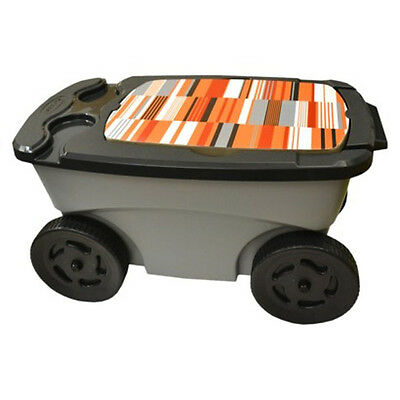 Suncast Portable Rolling Garden Tool Scooter w/Seat Cup Holder Basket & Straps