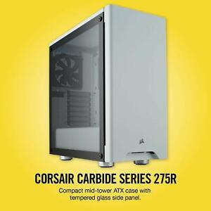 promo code 81a20 ec2e3 Details about CORSAIR CARBIDE 275R Mid-Tower Gaming Case, Tempered Glass-  White CC-9011133-WW