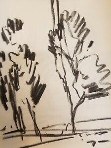 "JOSE TRUJILLO Original Charcoal Paper Sketch Drawing 12"" COLLECTIBLE Art COA"
