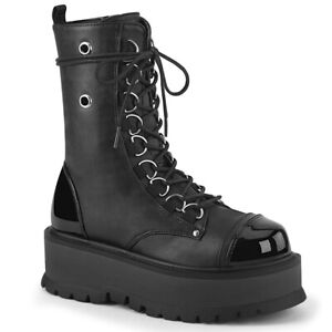 Slacker 220 Black Matte /& Patent Lace Up Zipper Mid Calf Boots US 6-12 Goth NY