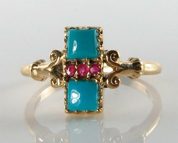 COMBO 9CT 9K gold ART DECO INS PERSIAN TURQUOISE & INDIAN RUBY RING FREE SIZE
