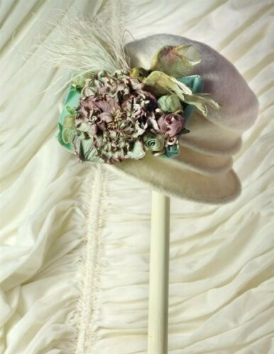 Victorian Trading Co Winter Sky Packable Hydrangea Floral Hat