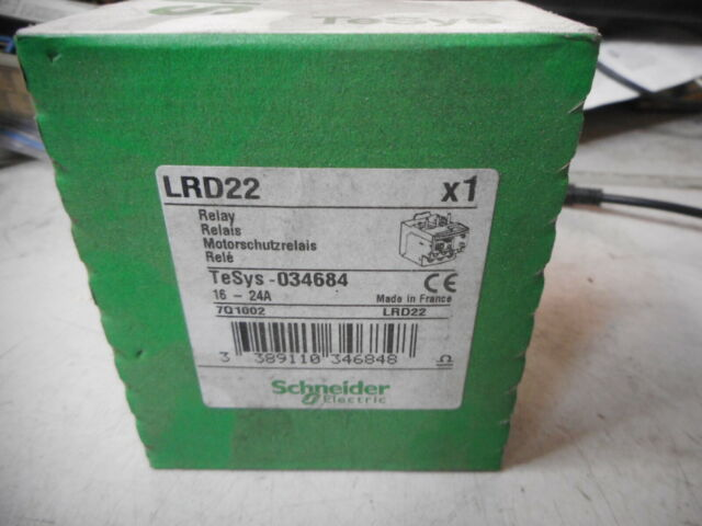 SCHNEIDER ELECTRIC TeSys Thermal Overload Relay 16....24amps -- 034694 -- LRD22