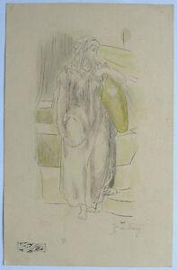 Gustave-Dore-1865-charcoal-amp-colorpencil-study-on-ecru-paper-039-Samaritan-woman-039-COA