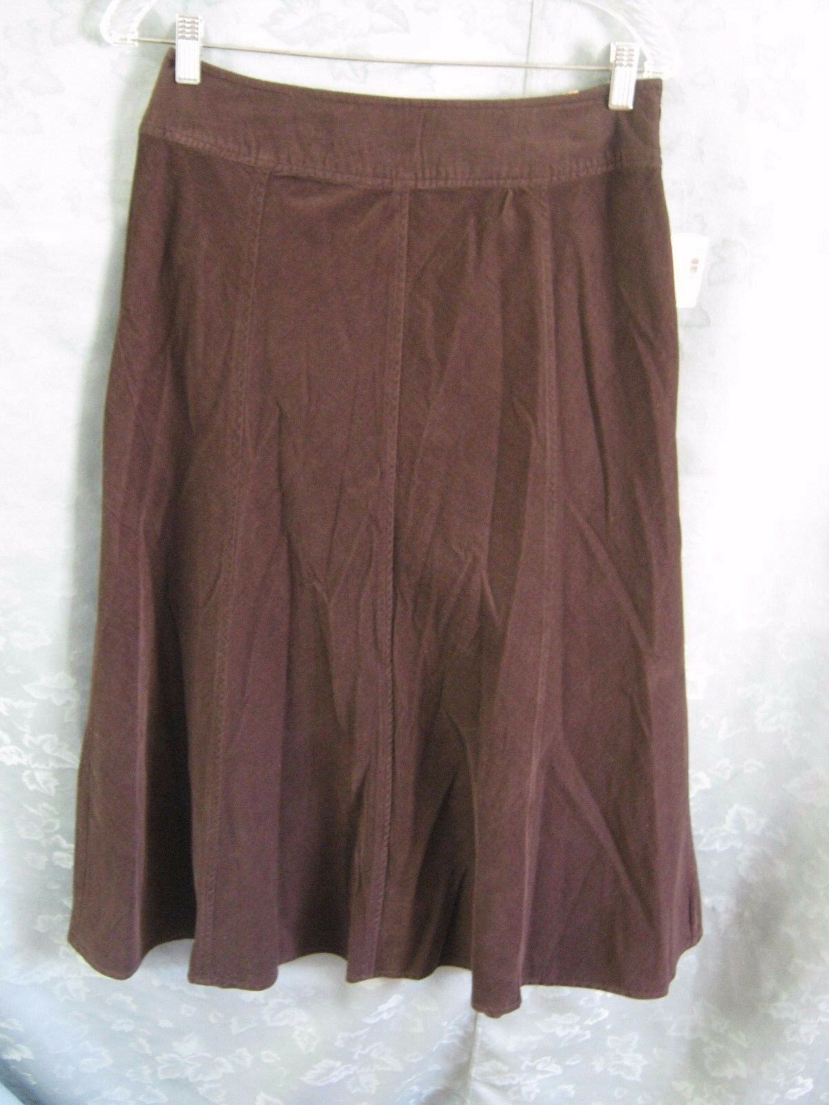 31ee6c8dca Dress Barn Brown Fine Wale Skirt Size 6 NWT Midi Corduroy Dark ...