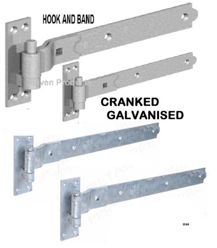 """12/"""" GATE CRANKED HOOK /& BAND HINGES HEAVY DUTY STABLE GARAGE SHED BARN DOOR  D30"""