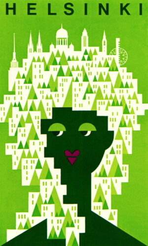 HELSINKI FINLAND  VINTAGE PRINT canvas modern GREEN  ART PAINTING