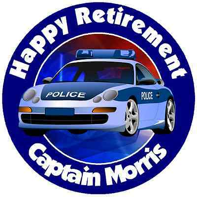 POLICE//COP RETIREMENT PERSONALIZED ROUND PARTY STICKERS FAVORS ~VARIOUS SIZES #4