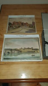 VINTAGE-Winston-Churchill-correlati-aquatint-stampe-HARROW-School-Blenheim-Palace