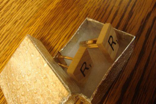 "/"" R /"" Scrabble Tile Monogram Letter Initial Cufflinks 1 Pair Two Gold Plate"