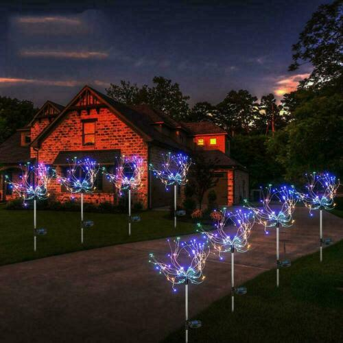 90 LED Solar Firework Lights Waterproof Outdoor Path Lawn Garden Decor Lamp