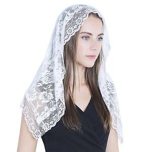 Latin Mass long lace veil 016 Classic Catholic veil with floral lace Round black chapel mantilla