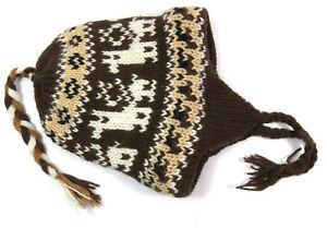 Winter Strickmütze Gefüttert Ohrwärmer Muster Peru Warm Neu Ku 38-42cm Weich Neu