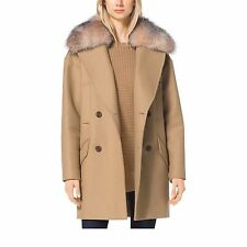 NWT MICHAEL Michael Kors Fur Trim Collar Melton Wool Coat DARK CAMEL SZ S, $695