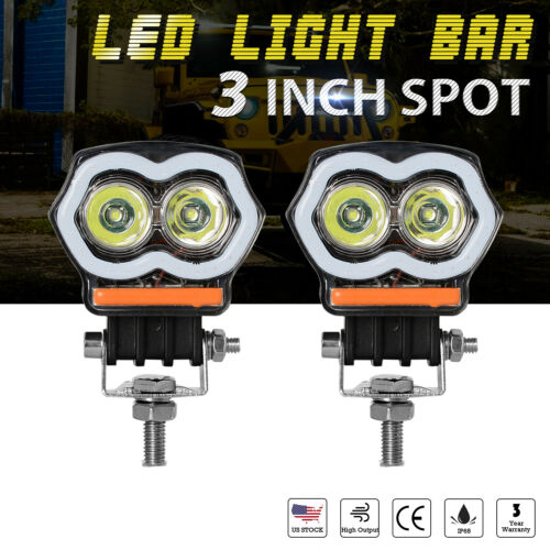 "2x 3/"" inch 20W LED Light Bar Spot Work Fog Pods Halo Angle Eyes Off Road ATV 4WD"