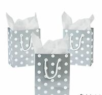 Wholesale 48 Medium Glossy Silver White Polka Dot Gift Bags Wedding Party Favors