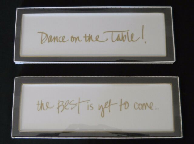 """Tray Plate Porcelain 12.75"""" x 4"""" Dance on the table The best is yet to come New"""