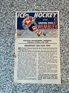 Wembley Empire Pool - Wembley Lions - Ice Hockey Programme 15/10/1955