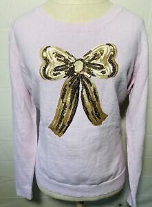 Lauren-Conrad-Women-Sweater-Embellished-Size-XL-Pink-Long-Sleeves