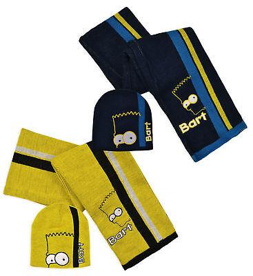 Devoto Bambini Bart Simpson The Simpsons Sciarpa, Guanti E Cappello Set Dolcezza Gradevole