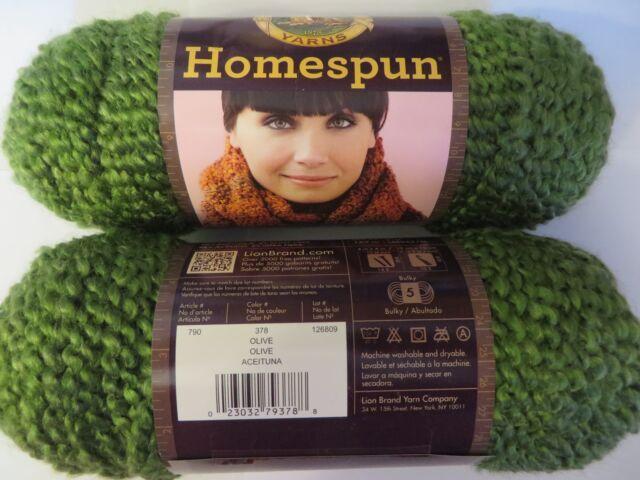 2 sk Homespun yarn 378 OLIVE Lion Brand textured 5 bulky dye lot 126809 green
