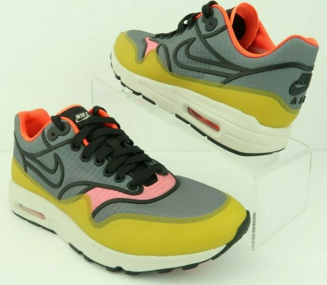 Nike 881103 001 Air Max 1 Ultra 2.0 Si Cool Grey Yellow Running Shoes Women's 5