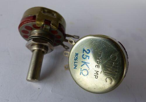variable resistors type MP 25 Kohm linéaire 2x OHMIC potentiomètre//potis