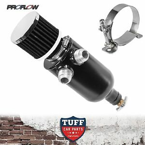 Proflow-Twin-Inlet-750ml-Stealth-Black-Oil-Catch-Can-Tank-amp-Breather-amp-Drain-Tap