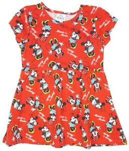 Girls Disney Minnie Mouse Cotton Skater Sun Dress Toddler 9 Months to 7 Years